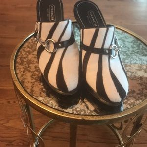Coach heels zebra print barely worn with box